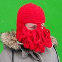 Шапка-маска с бородой (красная) — фото, картинка — 1
